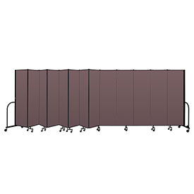 "Screenflex Portable Room Divider 13 Panel, 6'8""H x 24'1""L, Fabric Color: Mauve"