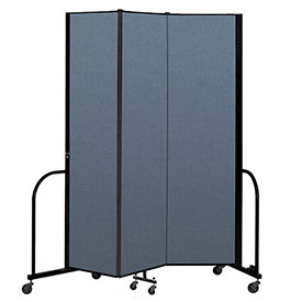 "Screenflex Portable Room Divider 3 Panel, 7'4""H x 5'9""L, Fabric Color: Blue"
