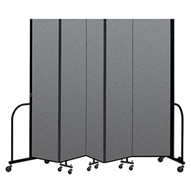 "Screenflex Portable Room Divider 5 Panel, 7'4""H x 9'5""L, Fabric Color: Gray"