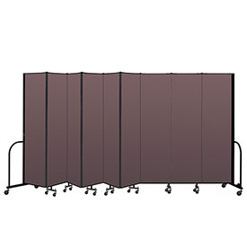 "Screenflex Portable Room Divider 9 Panel, 7'4""H x 16'9""L, Fabric Color: Mauve"