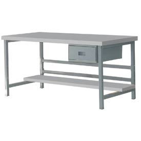 "Stationary 72"" X 36"" Plastic Laminate Square Edge Workbench - Gray"