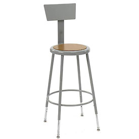 "Shop Stool with Back and Hardboard Seat – Adjustable Height 24""-33"" - Gray - Pkg Qty 2"