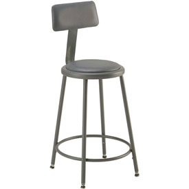 "Shop Stool with Back and Padded Seat - Adjustable Height 24"" - 33"" - Gray - Pkg Qty 2"