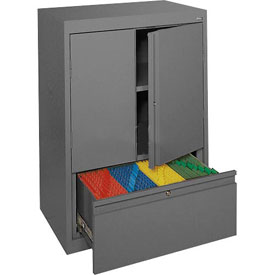 Sandusky System Series Counter Height Cabinet with File Drawer HFDF301842 - 30x18x42, Charcoal