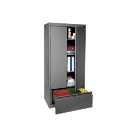 Sandusky System Series Storage Cabinet with File Drawer HADF301864 - 30x18x64, Charcoal