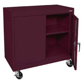 Sandusky Mobile Work Height Storage Cabinet TA11361830 Double Door - 36x18x30, Burgundy