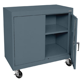 Sandusky Mobile Work Height Storage Cabinet TA11361830 Double Door - 36x18x30, Charcoal