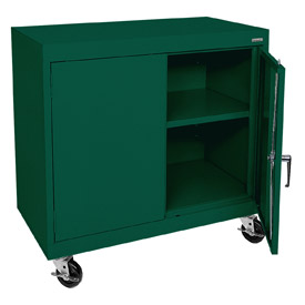 Sandusky Mobile Work Height Storage Cabinet TA11361830 Double Door - 36x18x30, Green