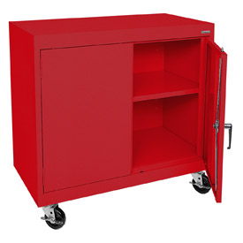 Sandusky Mobile Work Height Storage Cabinet TA11361830 Double Door - 36x18x30, Red