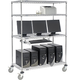 "Nexel™ 4-Shelf Mobile Wire Computer LAN Workstation w/Keyboard Tray, 48""W x 24""D x 69""H, Chrome"