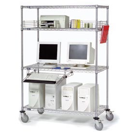 "Nexel™ 4-Shelf Mobile Wire Computer LAN Workstation w/Keyboard Tray, 60""W x 24""D x 69""H, Chrome"