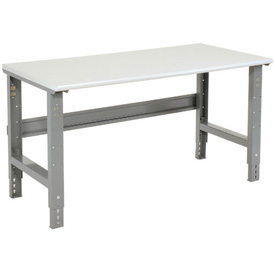 "72""W X 30""D ESD Safety Edge Top Work Bench - Adjustable Height - 1-1/4"" Top - Gray"
