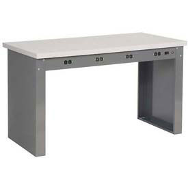 "60""W x 30""D Panel Leg Workbench With Power Apron and ESD Safety Edge Top"