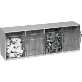 Quantum Tilt Out Storage Bin QTB304- 4 Compartments Gray