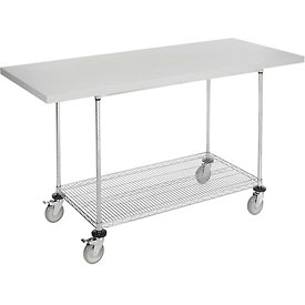 """72""""W x 30""""D Mobile Workbench with Wire Rack - Plastic Laminate Square Edge"""