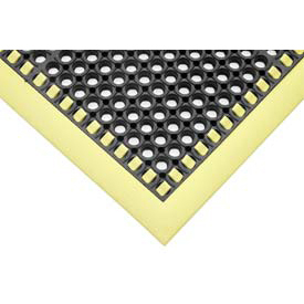 "7/8"" Thick Hi-Visibility Safety Mat with Borders on 3 Sides - 38x124 Yellow"