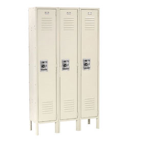 Infinity™ Locker Single Tier 12x18x60 3 Door Ready To Assemble Tan