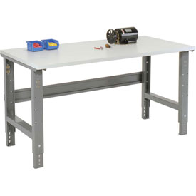 "60""W X 30""D ESD Square Edge Top Work Bench - Adjustable Height - 1-1/4"" Top - Gray"