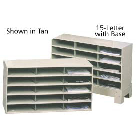 """15 Compartment Steel Literature Sorter with Base - 24""""H Black"""