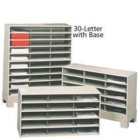"30 Compartment Steel Literature Sorter with Base - 42""H Tan"