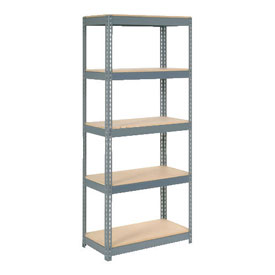 "Extra Heavy Duty Shelving 36""W x 12""D x 60""H With 5 Shelves, Wood Deck"