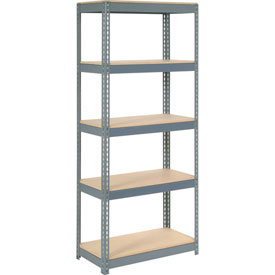 "Extra Heavy Duty Shelving 36""W x 18""D x 60""H With 5 Shelves, Wood Deck"