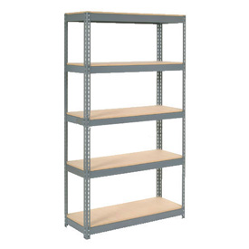 """Extra Heavy Duty Shelving 48""""W x 24""""D x 60""""H With 5 Shelves, Wood Deck"""