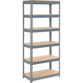 "Extra Heavy Duty Shelving 36""W x 12""D x 60""H With 6 Shelves, Wood Deck"