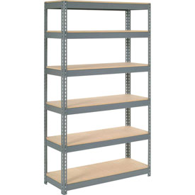 "Extra Heavy Duty Shelving 48""W x 12""D x 60""H With 6 Shelves, Wood Deck"