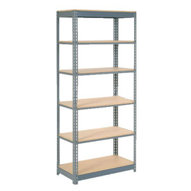 "Heavy Duty Shelving 36""W x 12""D x 84""H With 6 Shelves, Wood Deck"