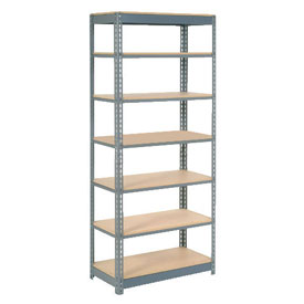 "Heavy Duty Shelving 36""W x 12""D x 84""H With 7 Shelves, Wood Deck"