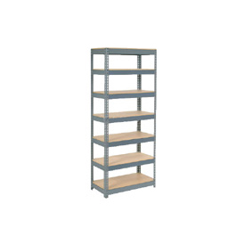 "Extra Heavy Duty Shelving 48""W x 12""D x 84""H With 7 Shelves, Wood Deck"