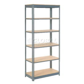 "Heavy Duty Shelving 36""W x 24""D x 96""H With 6 Shelves, Wood Deck"