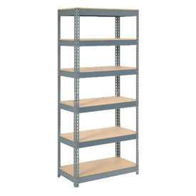 "Extra Heavy Duty Shelving 36""W x 12""D x 96""H With 6 Shelves, Wood Deck"