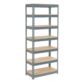 "Extra Heavy Duty Shelving 36""W x 12""D x 96""H With 7 Shelves, Wood Deck"