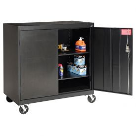 Sandusky Mobile Work Height Storage Cabinet TA2R462442 Double Door - 46x24x48, Black