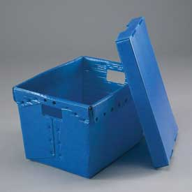 Corrugated Plastic Postal Mail Tote With Lid 18-1/2x13-1/4x12 Blue - Pkg Qty 10