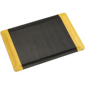 "Corrugated Safety Mat 36 Inch Wide 1/2"" Thick Black/Yellow Border"