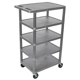 Luxor® BC50 Gray Plastic Shelf Truck 24 x 18 x 36 with 5 Shelves