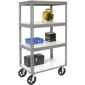 Easy Adjust Boltless 4 Shelf Truck 36 x 24 with Laminate Shelves - Rubber Casters