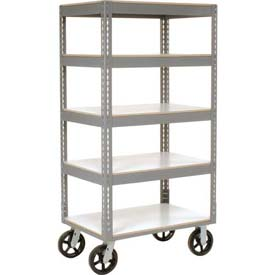 Easy Adjust Boltless 5 Shelf Truck 48 x 24 with Laminate Shelves - Rubber Casters
