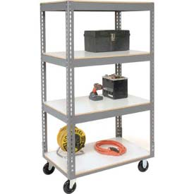Easy Adjust Boltless 4 Shelf Truck 60 x 24 with Laminate Shelves - Polyurethane Casters