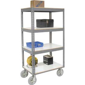Easy Adjust Boltless 4 Shelf Truck 60 x 24 with Laminate Shelves - Pneumatic Casters
