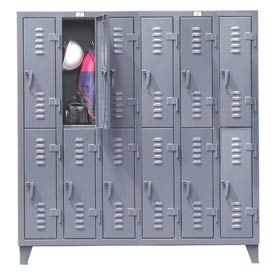 Strong Hold® Heavy Duty Slim-Line Locker 66-18-2TSL - Double Tier 74x18x78 12 Door