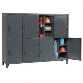 Strong Hold® Personnel Locker 86-24-2TPL- Double Tier 98x24x78 8 Doors Assembled Gray