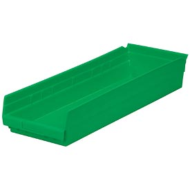 "Plastic Shelf Bin -  8-3/8""W x 23-5/8"" D x 4""H Green - Pkg Qty 6"