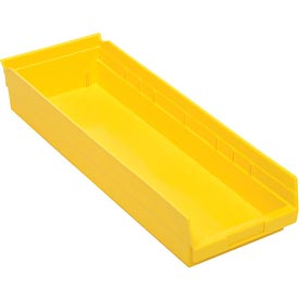 "Plastic Shelf Bin - 8-3/8""W  x 23-5/8"" D x 4""H Yellow - Pkg Qty 6"