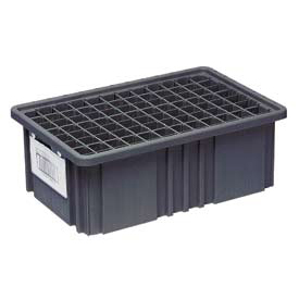 "Quantum Conductive Dividable Grid Container - DG91050CO, 10-7/8""L x 8-1/4""W x 5""H, Black - Pkg Qty 20"