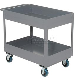 "Jamco Gray All Welded 6"" Deep Shelf Cart LS236 2400 Lb. Capacity 36x24"
