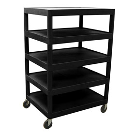 Luxor® BC55 Black Plastic Shelf Truck 32 x 24 x 49 5 Shelves